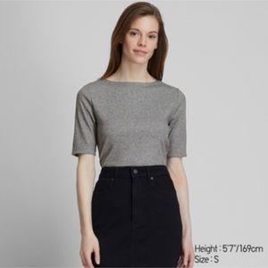 Uniqlo medium heather grey ribbed boat neck shirt